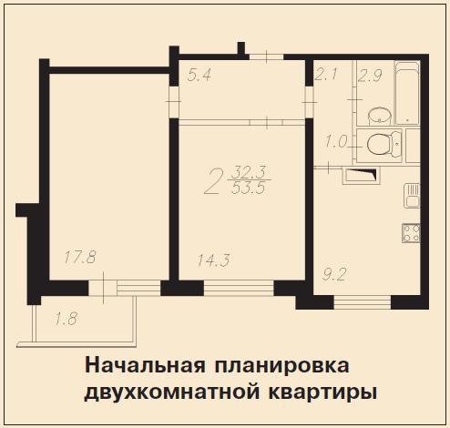 Перепланировка двухкомнатной квартиры П-3