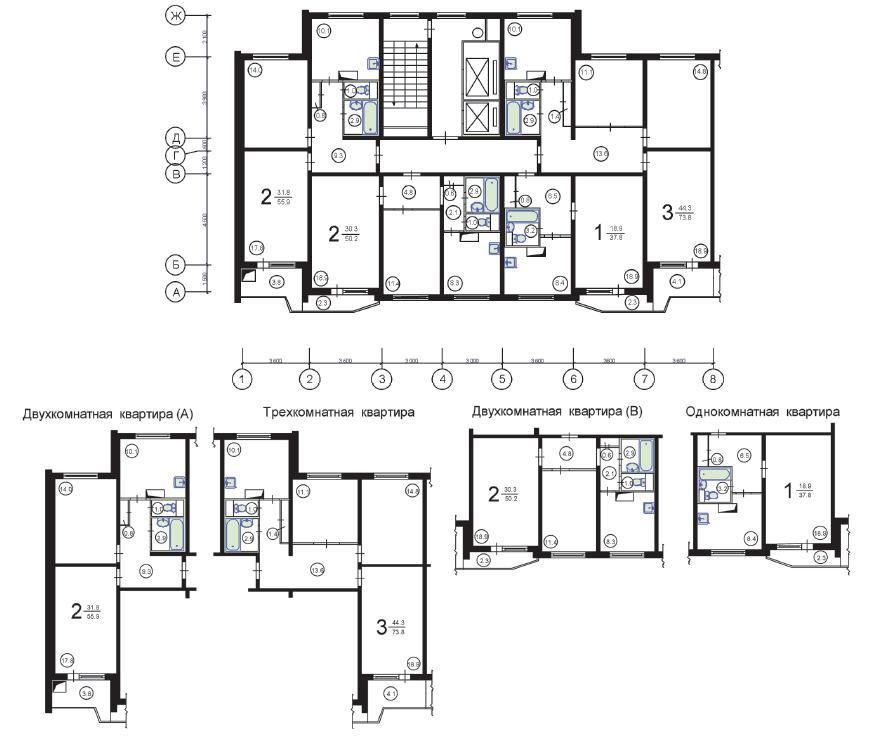 Стартерер: планы квартир п 44.