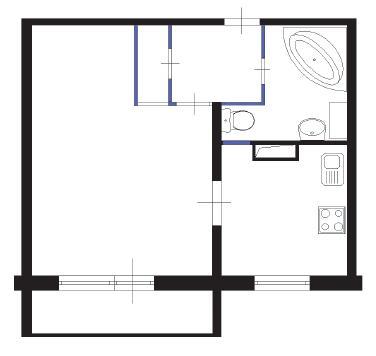 Перепланировка 2 комнатной квартиры с проходными