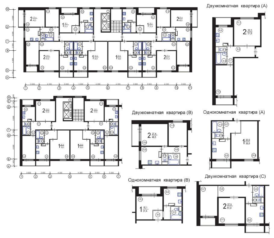 Перепланировка квартир в домах серии П 46м