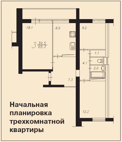 Перепланировка квартир в домах серии и 522.