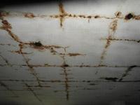 Обследование кровли / Следы протечек по потолку чердака под плиточным покрытием